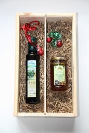 Kerstbox 250 ml biologische Latzimasolijfie en 300 gram pure thijmhoning