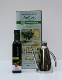 T/m 31-10-2019  Latzimas griekse  biologische olijfolie extra vierge in 5 liter blik&Biologische balsamico kalamata azijn, 250 ml&Mooie olijfolie kan rvs voor 450 ml olijfolie