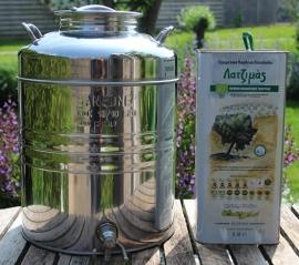 Sansone luxe rvs olijfolievaatje voor 20 liter met kraan