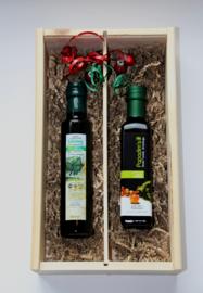 Kerstbox 250 ml biologische Latzimasolijfie en 250 ml bio balsamico