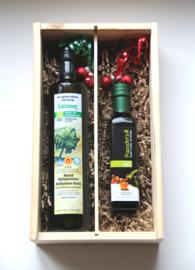 Kerstbox 750 ml biologische Latzimas olijfolie en 250 ml bio balsamico