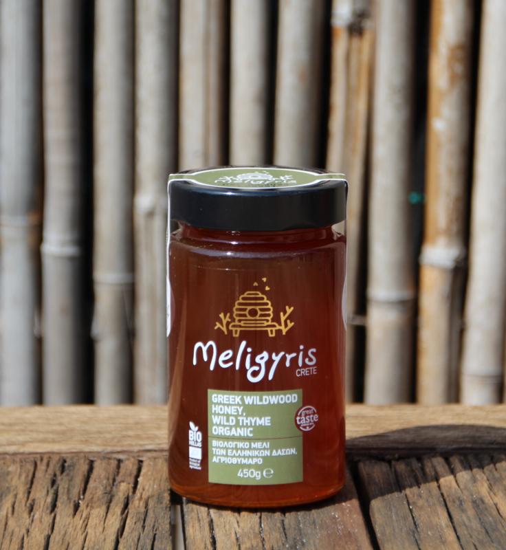 Biologische Tijmhoning Meligyris van Kreta 450g  met gratis honingstokje