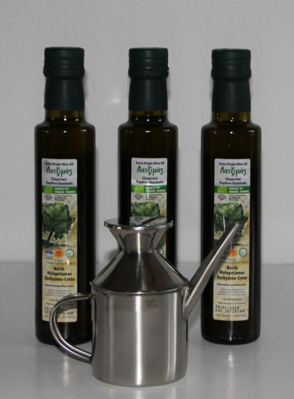 Aanbieding: T/M 12-09-19: 3 flessen 250 ml bio olijfolie extra vierge met rvs olijfkan