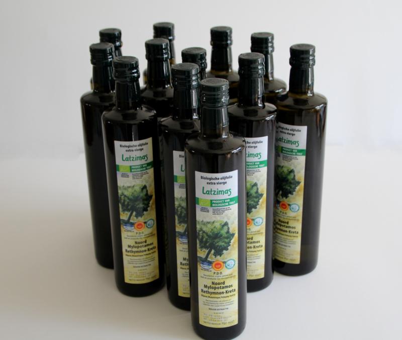 6 flessen 750 ml biologische Latzimas olijfolie extra vierge