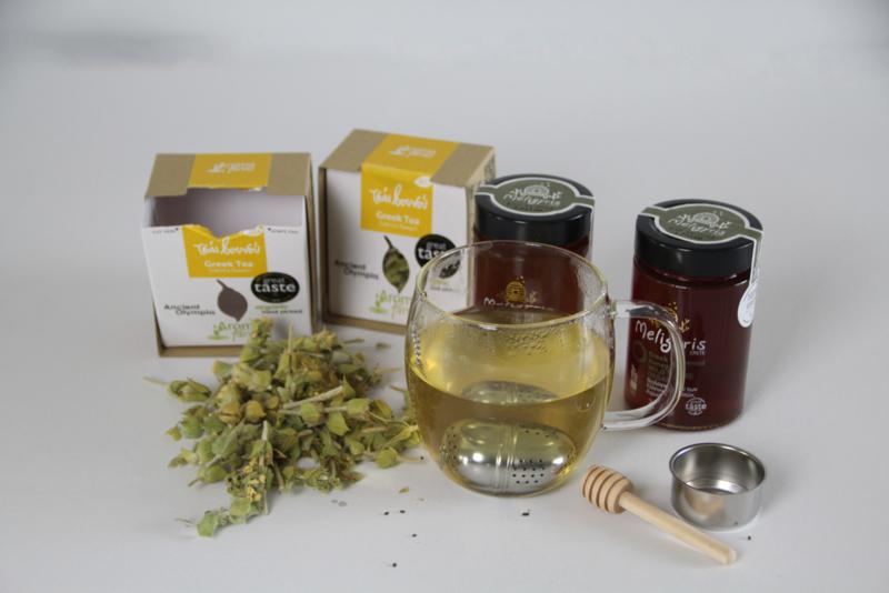 Set Biologische Griekse berg thee (2x) met  bio honing 270g (2x) en accessoires