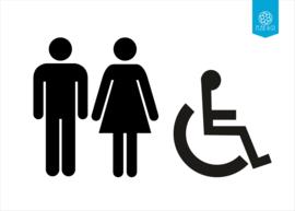 Man, Vrouw en Mindervalide symbool toilet