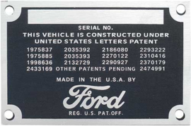 Ford Pickup Truck Patent Plate - Mounts On The Firewall
