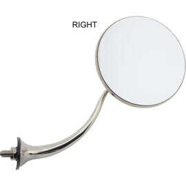 Swan Neck Stainless Round Rear View Mirrors RIGHT