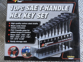 10 PC SAE T HANDLE HEX KEY SET