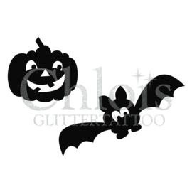 Pumpkin & Bat (Duo stencil)