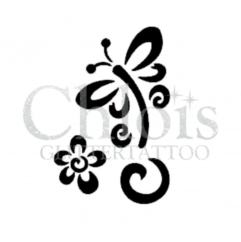 Stencils Flowers and Plants   Body Glitter - Glitter Tattoo