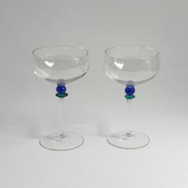 glazen 2x pair of wine glasses memphis design style 1980s / 1990s