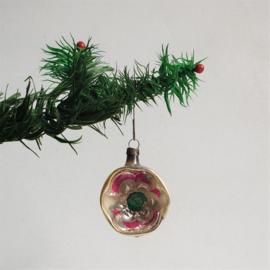 kerstversiering zilver roze kerstbal koplamp christmas ball ornament 1930s - 1950s
