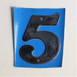 """huisnummer """" 5 """"  zwart metaal space age black house number metal 1970s"""