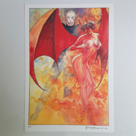 manara, milo italy pin-up devil demon female signed 1e print p.a. 1998