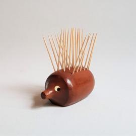 hout egel prikkers houder hedgehog sticks holder 1960s