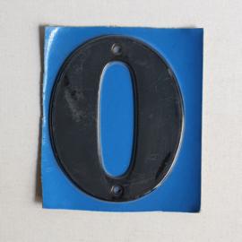 """huisnummer """" 0 """"  zwart metaal space age black house number metal 1970s"""