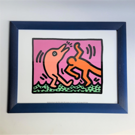 haring, keith print zeefdruk in lijst screenprint 1995