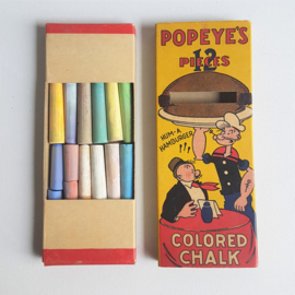 popeye krijtjes in verpakking colored chalk in package 1929