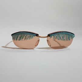zonnebril sunglasses with fringe incl earclips 1970s