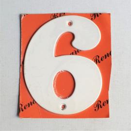 "huisnummer "" 6 ""  wit metaal space age white house number metal 1970s"