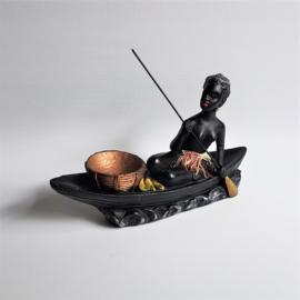 beeld dame in kano lady canoe figurine 1950s