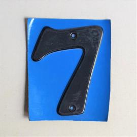 """huisnummer """" 7 """"  zwart metaal space age black house number metal 1970s"""