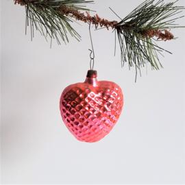 kerstversiering roze hart christmas tree ornament 1930s - 1950s