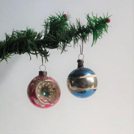 kerstversiering 2x zilver roze blauw kerstbal christmas ball ornament 1930s - 1950s