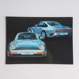 ansichtkaart postcard ongelopen hideaki kodama art porsche 959 1986 GRATIS VERZENDEN