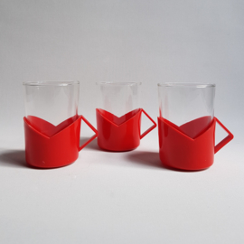 glazen theeglazen 3x tea glasses 1980s