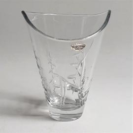 vaas hert glas vase genuine hand cut lead crystal deer 1960s
