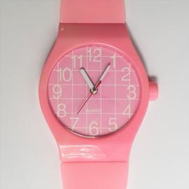wandklok roze maxi horloge XXL pink wall clock watch 1980s