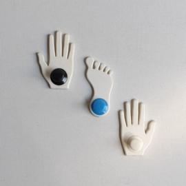 haak kapstok 3x voet / hand ongebruikt foot shaped hooks 1970s / 1980s