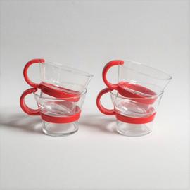 glazen theeglazen 4x tea glasses bodum denmark 1980s