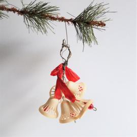 kerstversiering 5x kerstklok christmas bells ornament 1930s - 1950s