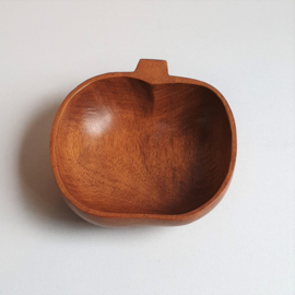 hout appel kom schaaltje apple bowl teak wood 1960s