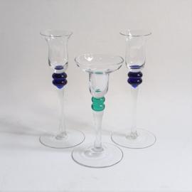 kandelaar 3x candle holder glass memphis design style 1980s / 1990s