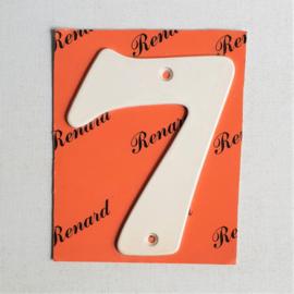 "huisnummer "" 7 ""  wit metaal space age white house number metal 1970s"
