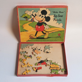 mickey mouse rat face jig saw puzzle incomplete 1930s