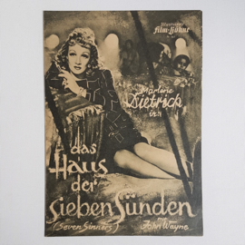 dietrich, marlene bioscoop flyer das haus der sieben sunden 1940s / 1950s