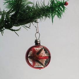 kerstversiering rood groen kerstbal koplamp christmas ball ornament 1930s - 1950s