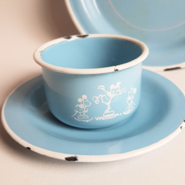 mickey mouse rat face emaille servies enamel plate cup & saucer 1930s