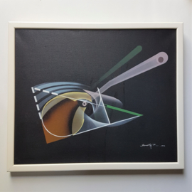haventy vintage modern airbrush painting signed 1980s nr.2