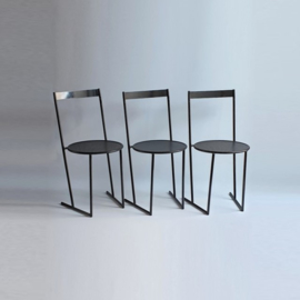 stoel dinner chair piero delonghi fly line italy perforated metal 1980s