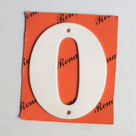 "huisnummer "" 0 ""  wit metaal space age white house number metal 1970s"
