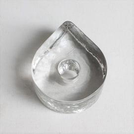 kandelaar druppel teardrop shaped candle holder glass 1980s