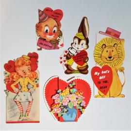 valentijnskaart 5x gelopen USA valentine's day card 1950s