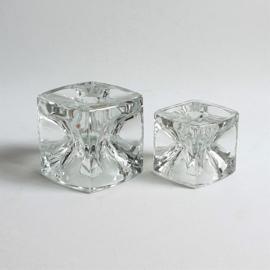 kandelaar 2x pair of candle holders ice cube rudolf jurnikl bohemia glass 1965