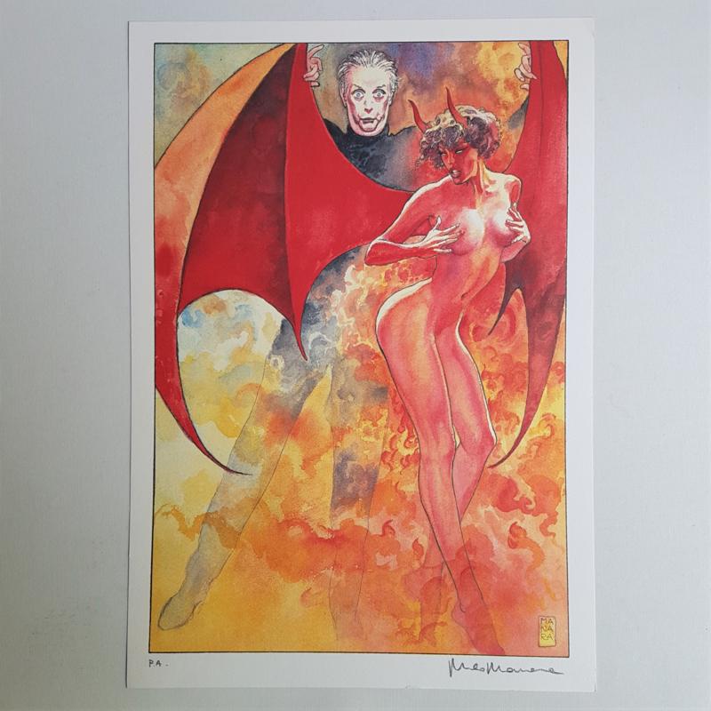 manara, milo italy pin-up devil demon female signed 1e print p.a. 1998
